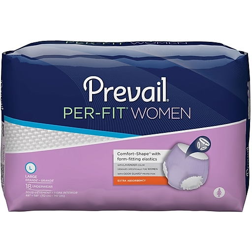 Prevail® Per-Fit® Women, Extra Absorbency, Lavender, Large, 72/CT