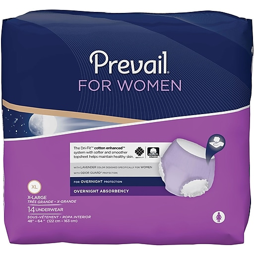 Prevail® for Women Underwear, Overnight Absorbency, X-Large, 56/CT
