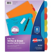 Avery Big Tab Write & Erase Durable Plastic Dividers, 8 Multicolor Tabs (16130)