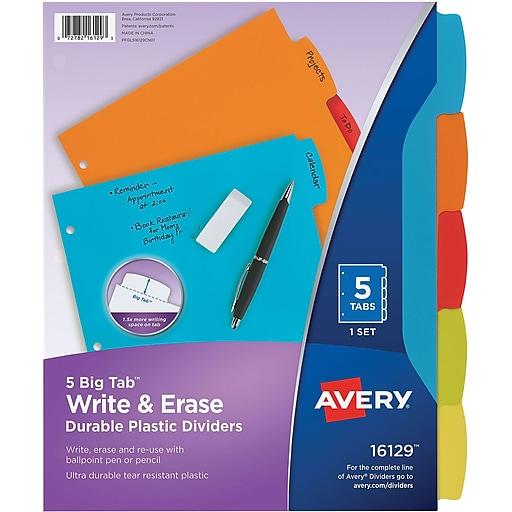Avery Big Tab Write & Erase Plastic Dividers, 5-Tab, Assorted Colors (16129)
