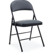 Staples Luxura Padded Seat Metal Folding Chair, Black, 4/Pack