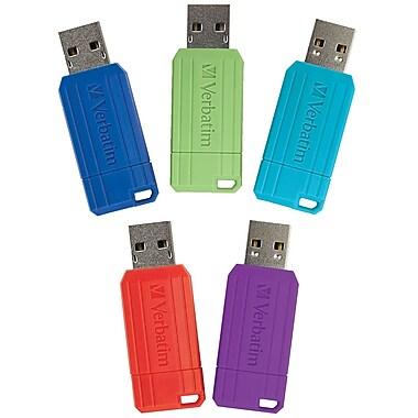 Verbatim 16GB PinStripe USB 2.0 Flash Drive, 5 Pack, Red, Green, Blue, Purple, Teal (99813)