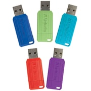 Verbatim 16GB PinStripe USB 2.0 Flash Drive, 5 Pack, Red, Green, Blue, Purple, Teal (99813)