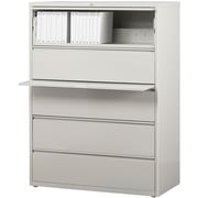 "Staples 5-Drawer 42"" Wide Commercial Lateral File Cabinet, Light Gray"