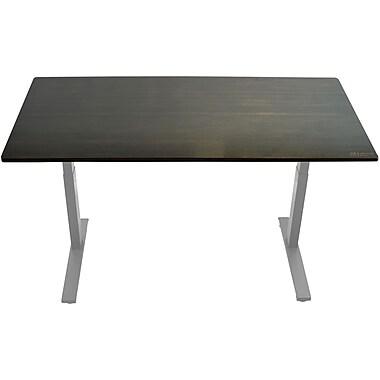 Uncaged Ergonomics Rise Up Electric Adjustable Height Standing Desk with Black Bamboo Desktop Gray Frame, Black Desktop (Rugbk)