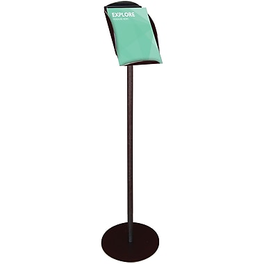 Deflect-O® Contemporary Literature Displays, Magazine-Size Floor Sign Stand, Black