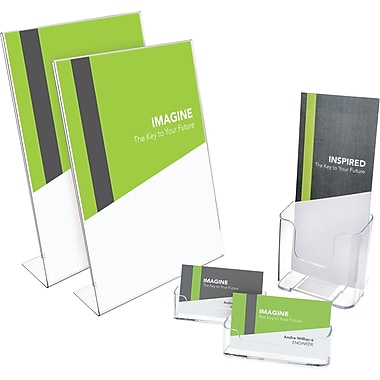 Deflecto® New Sign Holder Business Kit, Clear