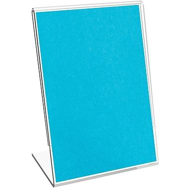Deflecto® Mini Slanted Plastic Tabletop Sign Holder , 4