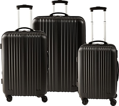 Staples® ABS 3 Piece Luggage Set, Black (45165)