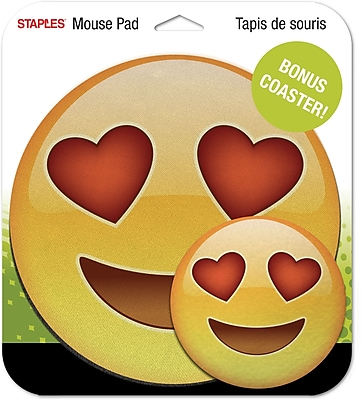Staples Emoji Mouse Pad, Heart Eyes