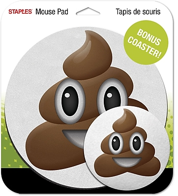 Staples Emoji Mouse Pad, Poo Face