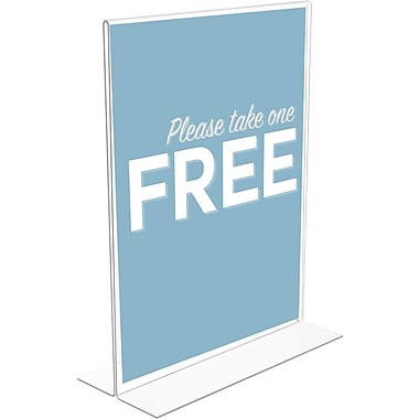 Deflecto® Stand Up Sign Holder, Bottom Load, Clear, 11