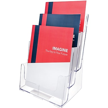Deflecto® Three-Tier Magazine Holder, Clear, 9 1/2