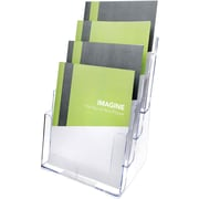 Deflecto® 77441 Tiered Literature Holder Magazine Size, Clear, 4 Pockets