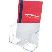 "Deflecto® Clear Rigid Brochure Holder, Clear, 7 3/4""H x 6 3/4""W x 3 3/4""D"