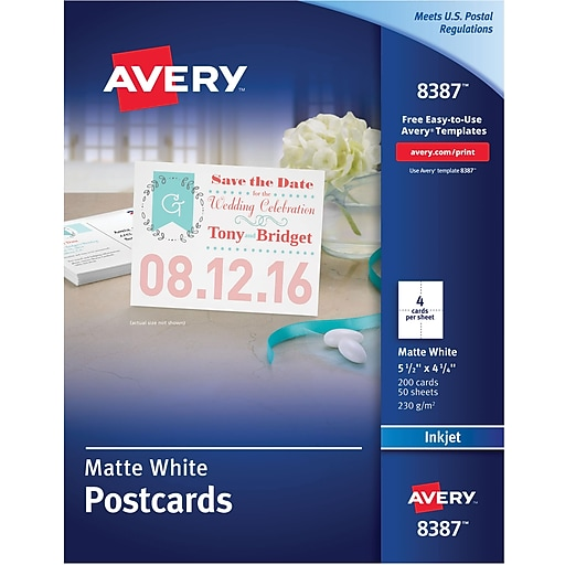 avery inkjet postcards matte finish 5 1 2 x 4 1 4 200 pack