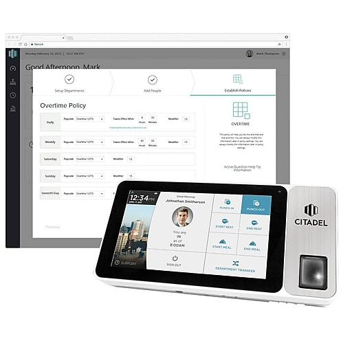 """Citadel™ Tablet Time Clock with Camera, Battery, 7"""" Touch Screen, and Fingerprint, RFID, and PIN Punching Capability (OB3000)"""