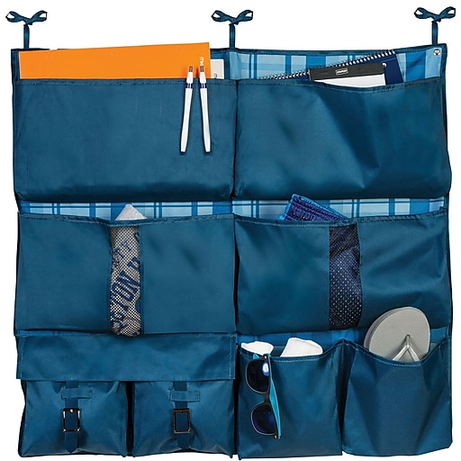 Honey Can Do Back to School 2-in-1  8-Pocket Hanging Organizer, Blue Flannel (BTS-01835)