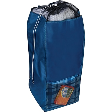 Honey Can Do Back to School Laundry Hamper with Carrying Straps, Blue Flannel (BTS-01841)
