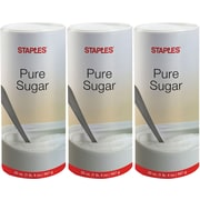 Staples Pure Sugar Value Pack, 20 oz. Canister, 3/Pack
