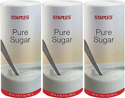 Staples Pure Sugar Value Pack, 20 Oz. Canister, Pack of 3 (51241/94203)