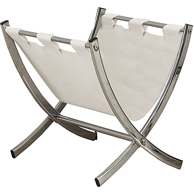 Monarch Specialties Magazine Rack, White Leather-Look with Chrome Metal (I 2036)