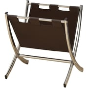Monarch Specialties Magazine Rack, Dark Brown Leather-Look with Chrome Metal (I 2035)