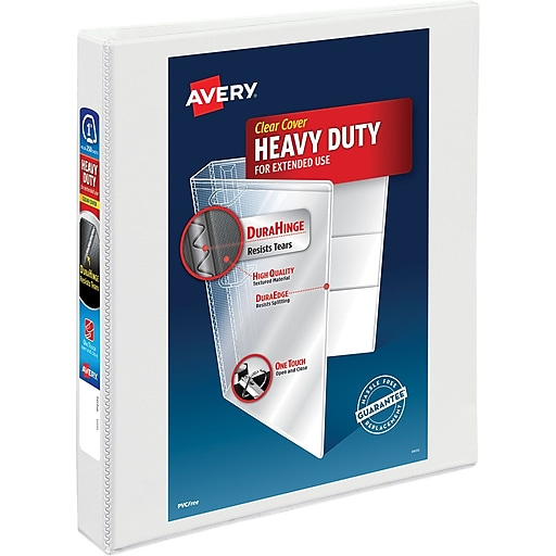 avery heavy duty 1 inch d 3 ring view binder white 79 799 staples