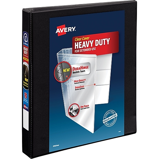 avery heavy duty 1 inch ezd 3 ring view binder black 79 699 staples