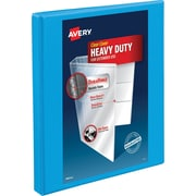 "Avery Heavy-Duty Nonstick View Binder, 1/2"" Slant Rings, 120 Sheet Capacity, DuraHinge, Lt. Blue, 05004"