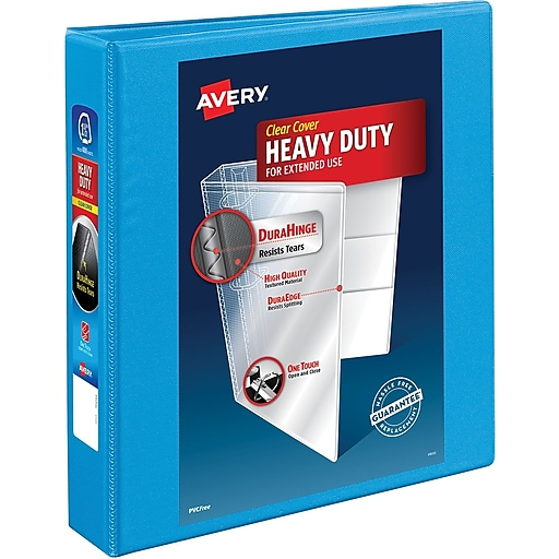 avery heavy duty 1 5 inch slant d 3 ring view binder light blue