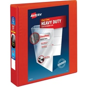 "Avery Heavy-Duty View Binder, 1-1/2"" One Touch Rings, 400 Sheet Capacity, DuraHinge, Red (79171)"