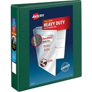 "Avery Heavy-Duty View Binder, 1-1/2"" One Touch Rings, 400 Sheet Capacity, DuraHinge, Green (79173)"