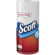 Scott® Choose-A-Sheet™ Paper Towels, 1-Ply, White, 74 Sheets/Roll, 24 Individually Wrapped Rolls/Carton (47645)