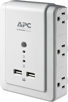 APC SurgeArrest Essential 6 Outlet and 2 USB 1080 Joules Surge Protector Wall Tap (P6WU2)