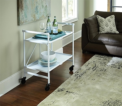 White Outdoor Folding Serving Cart