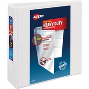 "Avery® Heavy-Duty View Binder with 3"" One Touch EZD™ Rings, White, 4/Pk"