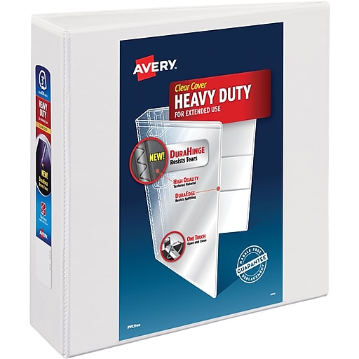 avery heavy duty 3 inch d 3 ring view binder white 79 793 staples