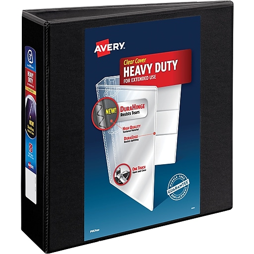 avery 3 heavy duty view binder with one touch ezd rings black