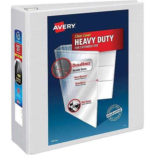 avery heavy duty 4 inch d 3 ring view binder white 79 704 staples