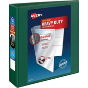 "Avery Heavy-Duty View Binder, 2"" One Touch Rings, 540 Sheet Capacity, DuraHinge, Green (79683)"