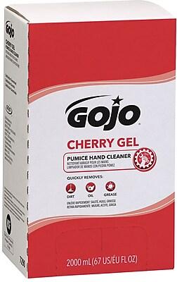 Gojo Gel Pumice Hand Cleaner, Cherry, 2,000 mL Refill, 4/Ct