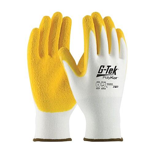 G-Tek® PolyKor™ Blend Gloves, Yellow Latex Crinkle Coating, EN3 Cut Level 2, Large