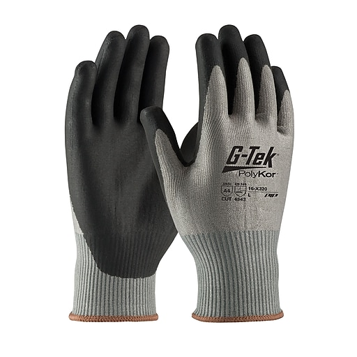 G-Tek® PolyKor™ Xrystal™ Gloves, Blended Gray 13 Gauge, Nitrile Foam, ANSI A4, Large