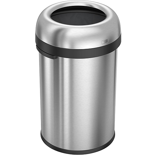 """simplehuman® 115 Liter Bullet Open Can, Heavy-Gauge Brushed Stainless Steel, 18.9""""W x 18.9""""D x 32.3""""H (CW1471)"""
