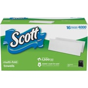 Scott® Multi-Fold Paper Towels, 1-Ply, White, 250 Towels/Pack, 16 Packs/Carton (KCC 08009)
