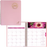 "2018 Brownline® 8-7/8"" x 7-1/8"" Pink Ribbon Soft Cover Monthly Planner, 14 Months, Pink and Floral (CB1219.PNK)"