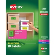 "Avery® 6481 Removable Assorted Neon Organization Labels, 2"" x 4"", 120/Pack"