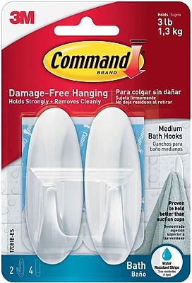 Command™ Medium Designer Bath Hooks, White, 2/Pack (17081B-ES)