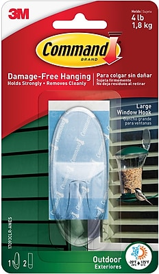 Command™ Outdoor Large Window Hook, Clear, Each (17093CLR-AWES)